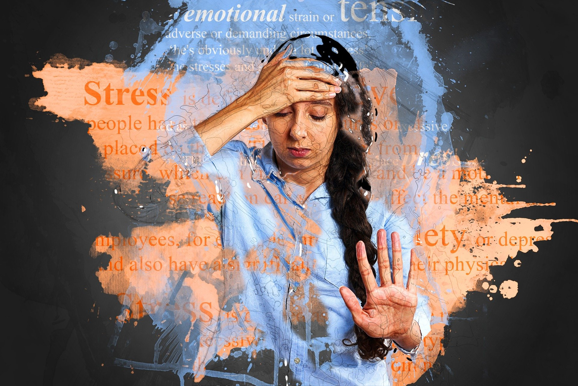 graphical depicition of a stressed woman